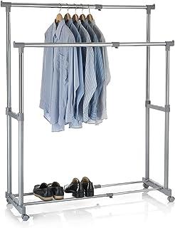 IDIMEX Portant à vêtements CASA en métal chromé et Gris, penderie Double sur roulettes vestiaire Mobile avec 2 Barres Haut...