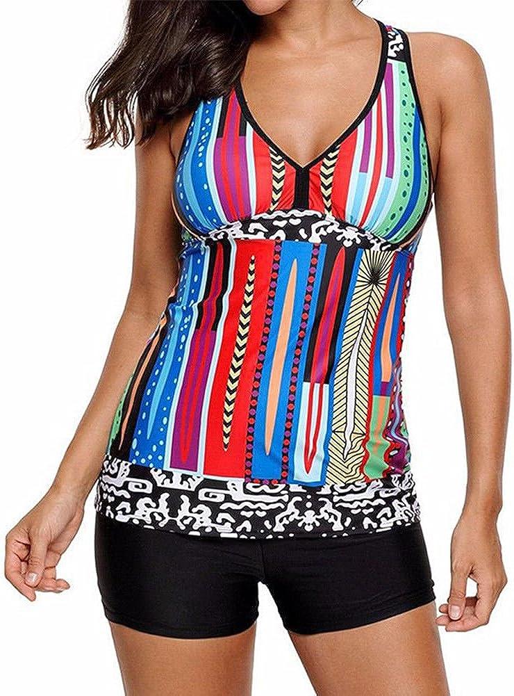 Fuyingda 2PCS Women Multi-Color Stripes Tankini Set V-Neck Racerback Swimwear