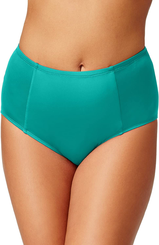 Kenneth Cole Reaction Women's Plus-Size Ruffle Shuffle Solid Hi Waisted Bikini Bottom
