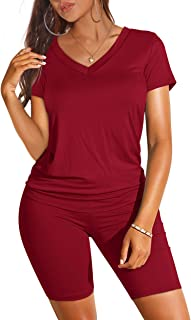Two Piece Outfits for Women Short Sleeve V Neck Biker Shorts Set