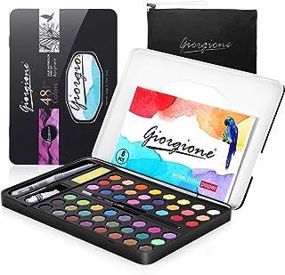 Portable Watercolor Paint Set, AGPTEK 48 Colors Non-Toxic Solid Watercolor Painting Palette Kit in Metal Box Paint Case Sk...