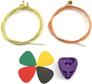 RuiLing 2 Set Guitar Strings (1 Brass Set, 1 Copper Set) with 4PCS Plectrums And 1PC Plectrum Holder Steel String for Acou...