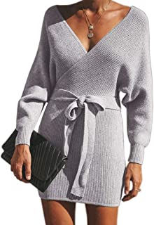 Soulomelody Womens Wrap V Neck Sweater Dress Sexy Backless Batwing Sleeve Bodycon Pencil Knit Dress with Belt