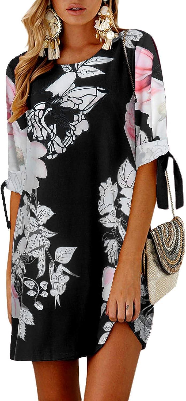 YOINS Womens Summer Crew Neck Mini Dresses Half Sleeves Sundresses Causal Tunic Dress