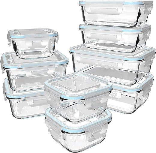 GENICOOK Glas-Frischhaltedose Set/Vorratsdosen Glas mit Deckel/Meal prep Boxen/Aufbewahrungsbehälter/Lebensmittelbehälter – Geschirr für…