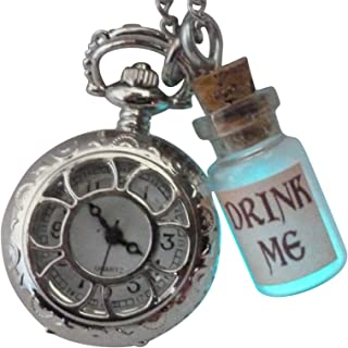 Alice in Wonderland Tea Party Steampunk Pocket Watch Glow Drink me Necklace pw1-Umbrella Laboratory