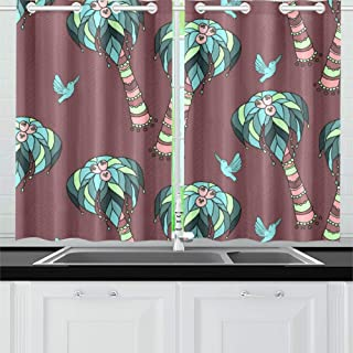 XINGCHENSS Yellow Pheasant Green Leaf Flower Kitchen Curtains Window Curtain Tiers for Café, Bath, Laundry, Living Room Bedroom 26 X 39 Inch 2 Pieces