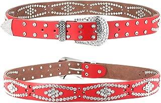 "Women's Western Cowgirl Rhinestone Studded Leather Belt 1-1/2"" Wide"
