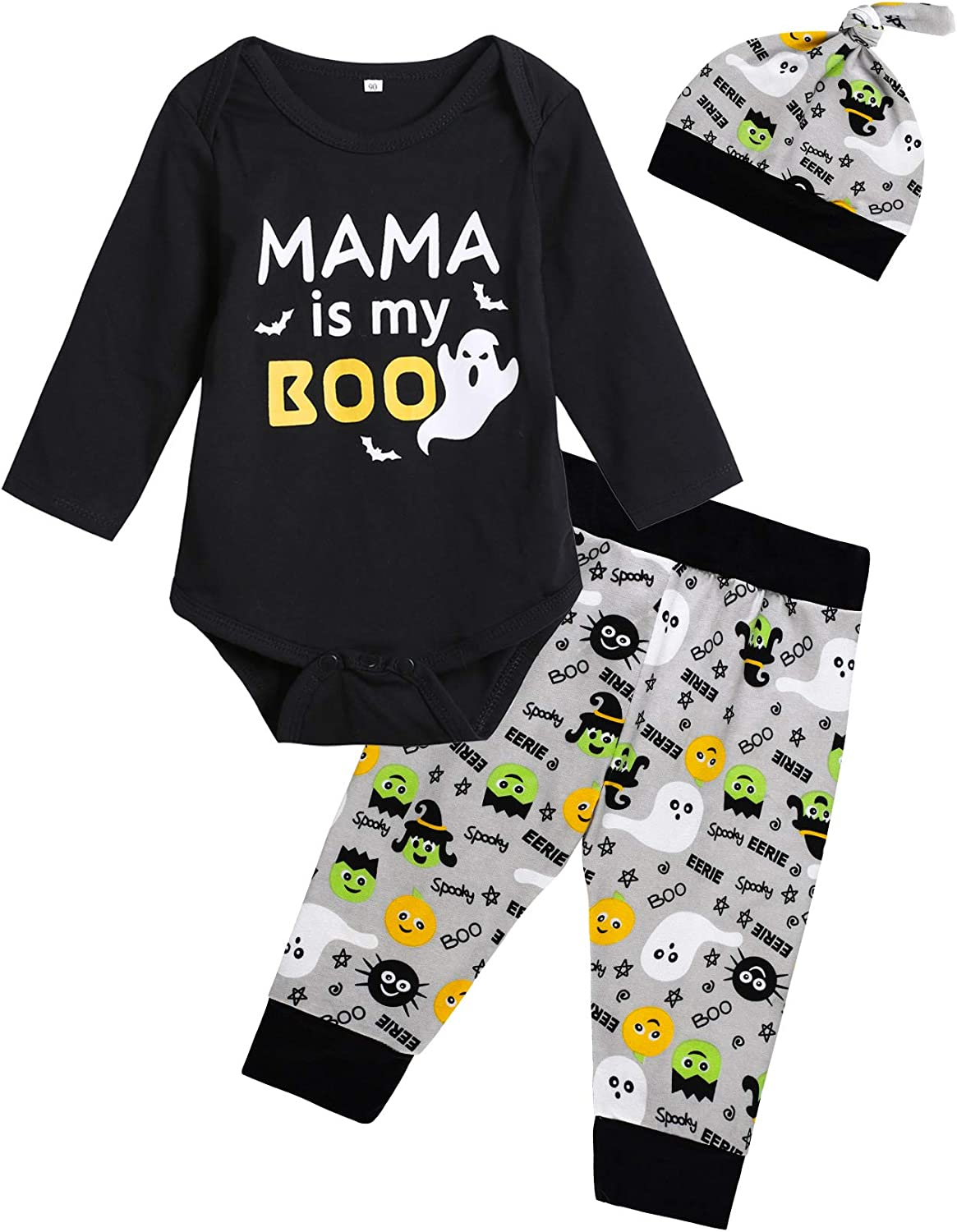 Baby Boys' Mama is My Boo Outfit Set Halloween Ghost Romper