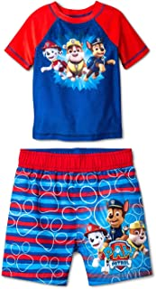Paw Patrol Swim Trunks & Rash Guard Shirt Set UPF 50+ Sun Protection for Toddlers