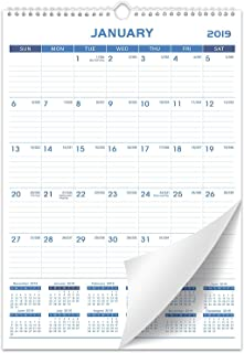 """2019 Wall Calendar - Calendar Planner 2019, Thick Paper Perfect for Organizing & Planning, 12"""" x 17"""", Wirebound, Ruled Block"""