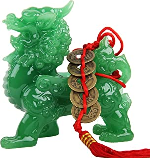 Wenmily Feng Shui Green Pi Yao/Pi Xiu Wealth Porsperity Statue + Free Prosperity Protection Set of 5 Lucky Charm Ancient Coins on Red String,Feng Shui Decor