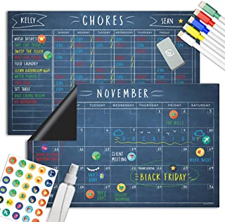 Magnetic Chalkboard Reward Chore Chart – Black Dry Erase Refrigerator Responsibility Incentive Chart - Multiple Kid Chart ...