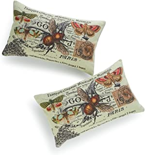 Hofdeco Decorative Lumbar Pillow Cover HEAVY WEIGHT Cotton Linen French Country Vintage Bee Collage 12