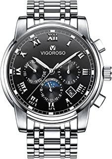 VIGOROSO Men's Wrist Watch, Waterproof Luxury Stainless Steel Watches for Business Man Quartz Movement Analog Display with 3 Sub-dials Date Day Week 24-Hour (Sun to Moon)