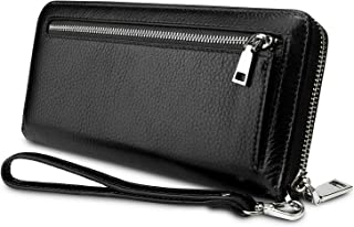 YALUXE Women's Leather RFID Security Zipper Wallet with Wristlet Strap for Card Passport Phone