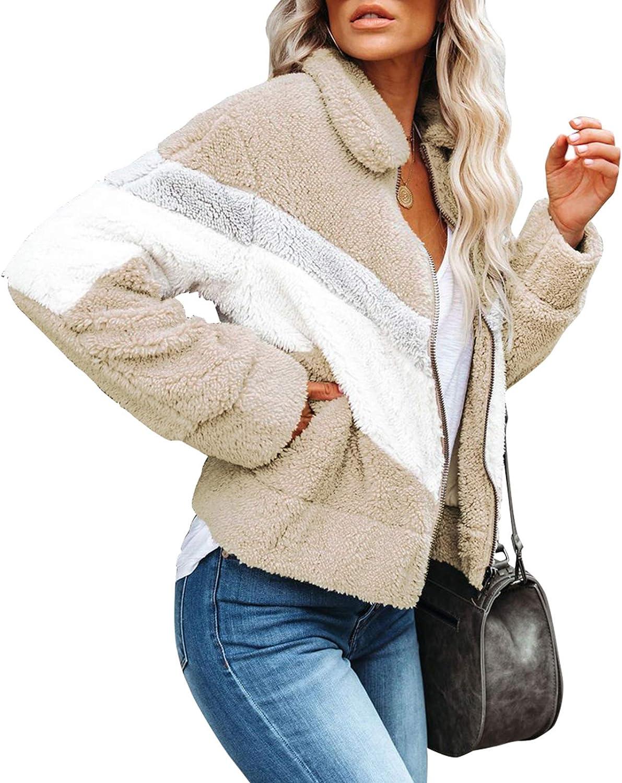 Urchics Womens Fashion Long Sleeve Zip Up Faux Shaggy Winter Coat Jacket with Pockets