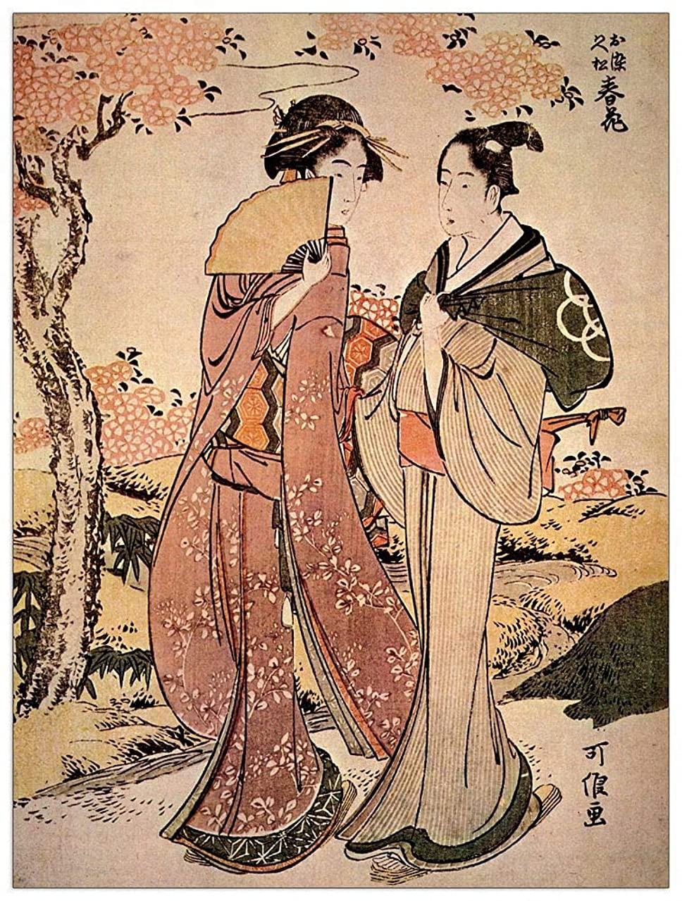 ArtPlaza TW90185 Hokusai Katsushika - Two Women Decorative Panel 27.5x35.5 Inch Multicolored