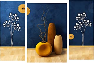 SND Engineered Wood Floral Wall Painting , Beige, Modern, 12 X 4.5 Inch, 12 X 9 Inch, 12 X 4.5 Inch