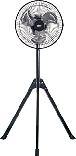 広電 25cm 扇風機 アルミ羽根 三脚型 ワンタッチ式 ブラック KSF2542-K