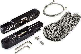 BlackPath - Fits 2003-2004 Kawasaki Swingarm Extension + SS Brake Line + Chain Kit Ninja ZX-6R ZX-6RR (Silver) T6 Billet