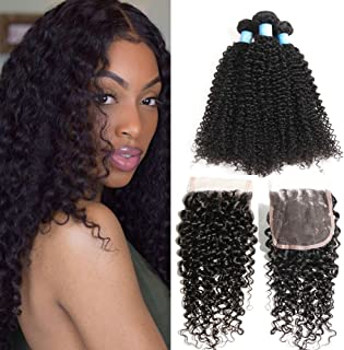 BLY Human Hair Bundles with Closure- 7A Mongolian Virgin Kinky Curly Hair Extensions 3 Bundles with Lace Closure Unprocessed Natural Color(14/16/18+12 Inch)