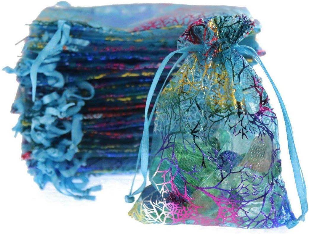 Pochette pour Bijoux de No/ël 100 Sacs SumDirec en Organza avec Motif Corail de 9 x 12cm Sac de Cadeaux de Mariage Bleu pour Douche de b/éb/é