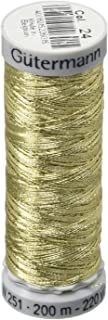 Gutermann Dekor Metallic Polyester Embroidery Thread, 200m/219 yd, Dull Metallic Gold
