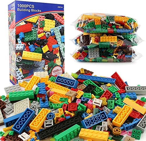 AUMING Juegos de Bloques Juego de Juguetes para Niños Juego de Bloques de construcción de 1000 Piezas con Bolsa de Transporte Ajustada y Compatible con Todas Las Marcas (Color   Multi-Colorojo)