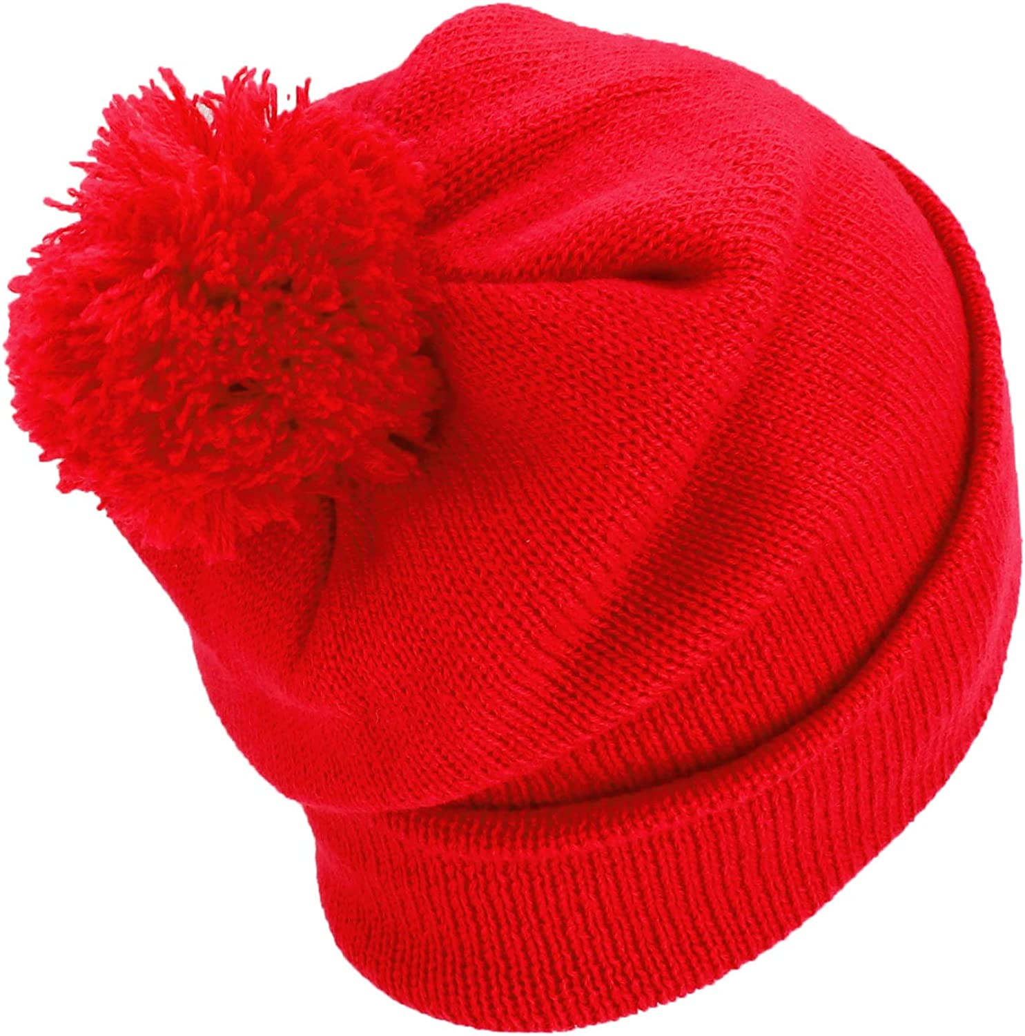 Armycrew Solid Color Cuff Long Pom Pom Winter Beanie Hat