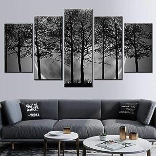 5 peintures HD Baskı Duvar Sanatı 5 Parça Siyah Beyaz Gri Psychédélique Orman Manzara Tuval Boyama Oturma Odası Restoran E...