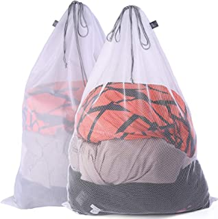 Kimmama Drawsting Mesh Laundry Bag, 2 Pack 24'' x 36'' Super Sturdy Draw String Bag,2 Different Large Mesh Fabric Cord Bag for Factories,College,Dorm,Storage (1 Coarse Mesh+1 Fine Mesh)