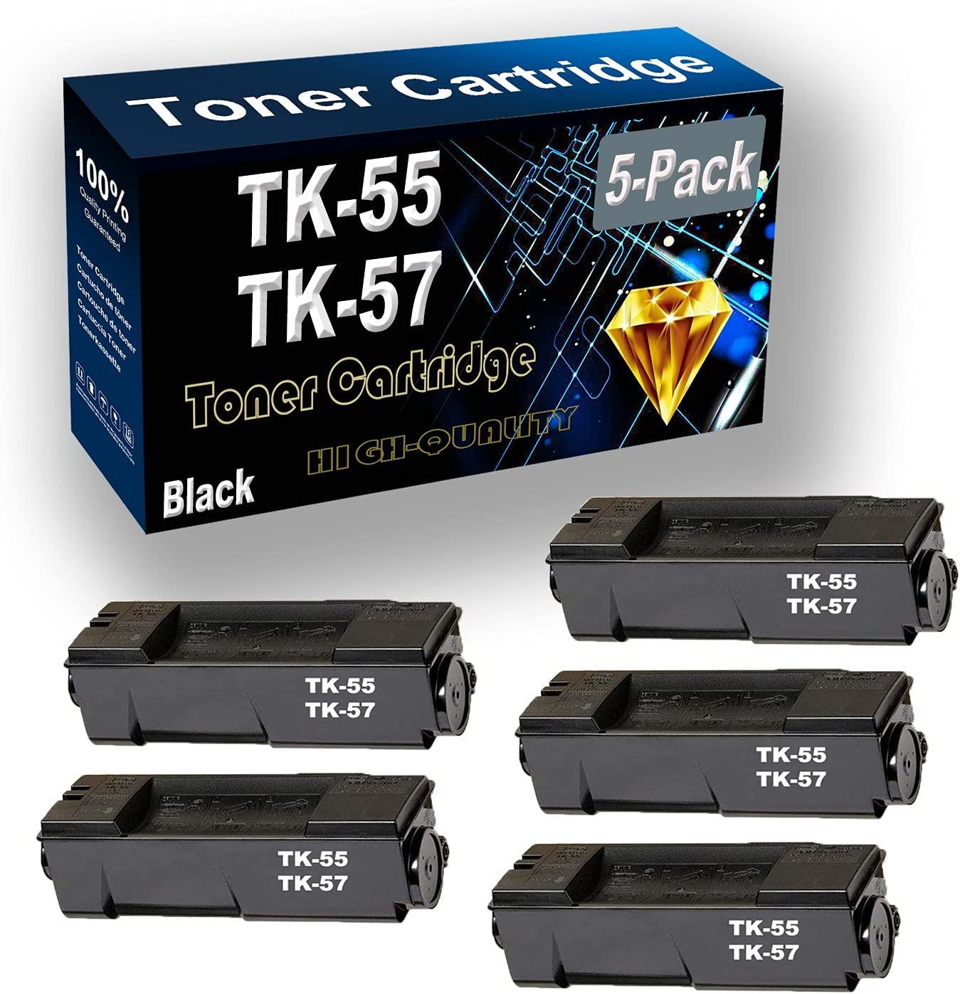 Remanufactured Toner Cartridge Replacement for Kyocera TK55 TK-55 TK57 TK-57 for Kyocera FS-1900 FS-1920 Printer (5-Pack Black)
