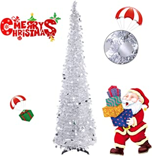 Collapsible Christmas Trees 6 Foot Artificial Tinsel Xmas Tree, Pop Up Multicolored Pencil Sequin Coastal for Holiday, Apartment, Party, Home, Office, Christmas Decorations, Fireplace–Silver