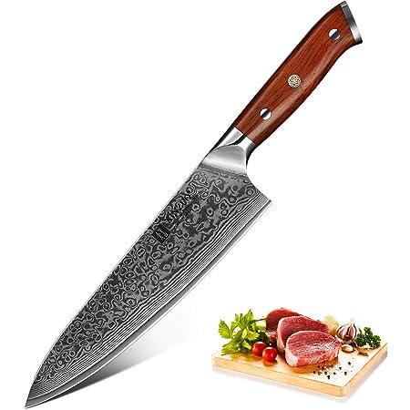 XINZUO Coutellerie Couteau de Chef 21cm 67 Couches en Acier Damas Couteau de Cuisine, Japonais VG10 Couteaux de Chef en Acier Professionnel avec Poignée en Bois de Rose - YU série