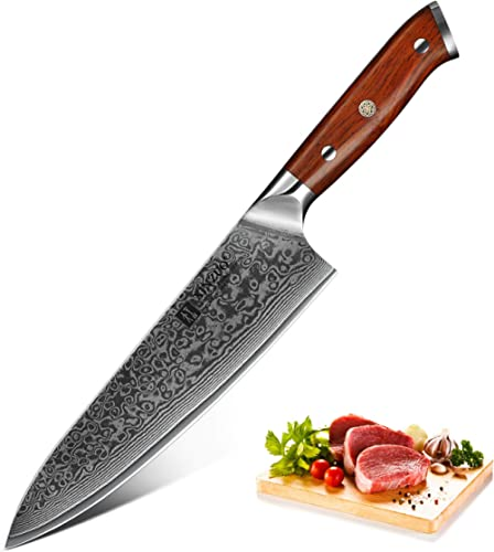 XINZUO Chef Knife, 8 Inch High Carbon Damascus Steel Kitchen Knife, Japanese VG10 Steel Professional Chef's Knives wi...