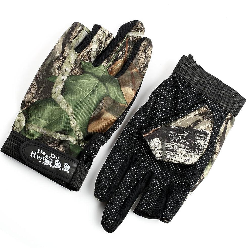 すき免疫するクリケット釣り用 手袋 迷彩 葉柄 フィッシンググローブ 指 3本 出し 釣道具 防寒 手袋 伸縮性?吸湿発散性 滑り止め …