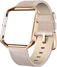 SWEES Leather Bands Compatible Fitbit Blaze Smart Watch, Genuine Leather Replacement Band with Metal Frame Small & Large for Women Men, Champagne Gold, Rose Gold, Black, Brown, White, Grey, Beige