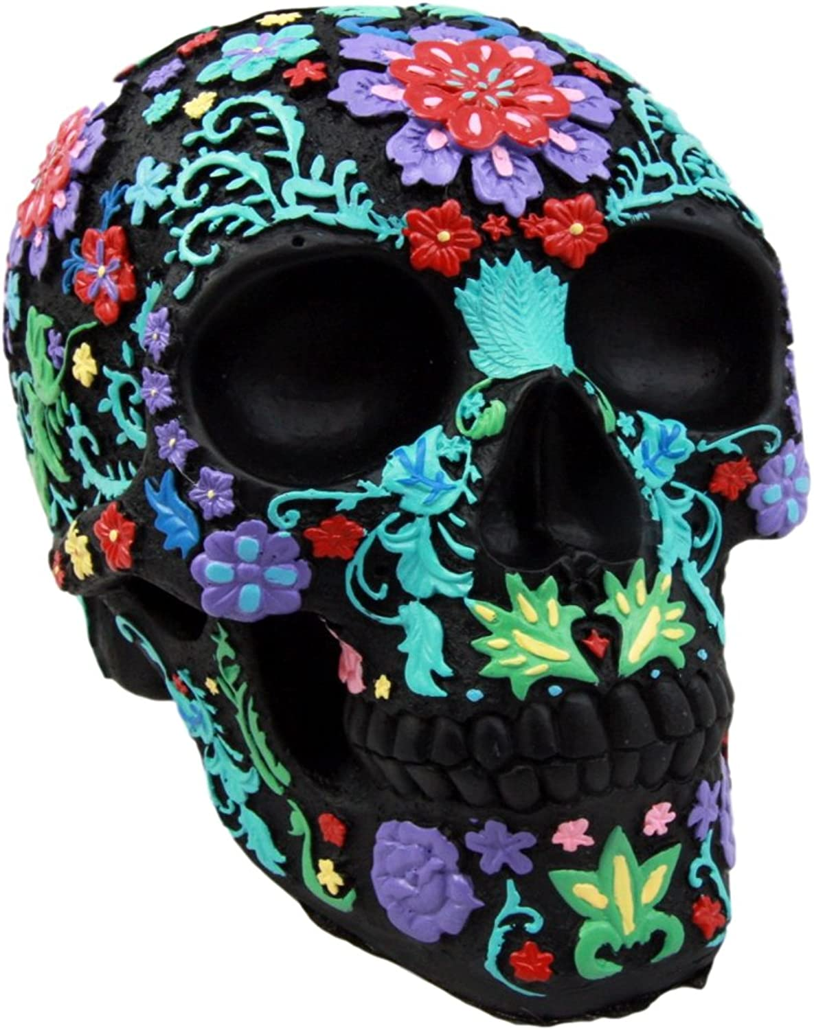 Atlantic Collectibles Day Of The Dead Black Multi colord Floral Tattoo Skull Figurine 8.25 L