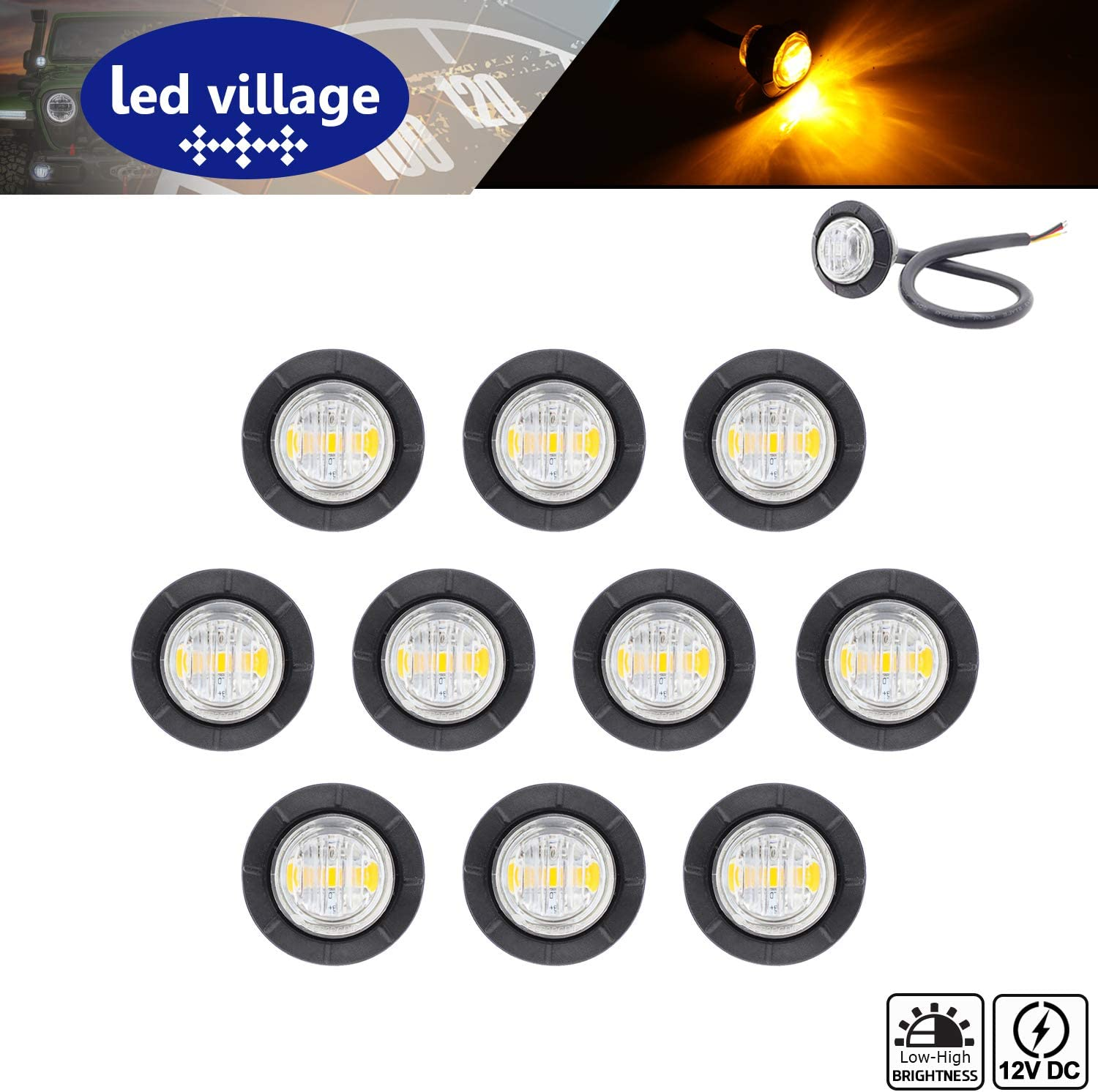 Pack of 10 LedVillage 3 4 Inch Amber LED Indi Max 63% Max 49% OFF OFF Lens Clear Round