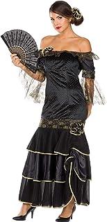 """Rubie""""s 13461-42 Damen Kostüm Flamenco Spanierin Tänzerin Kleid latein Ballkleid Fasching 42, Schwarz, Gold"""