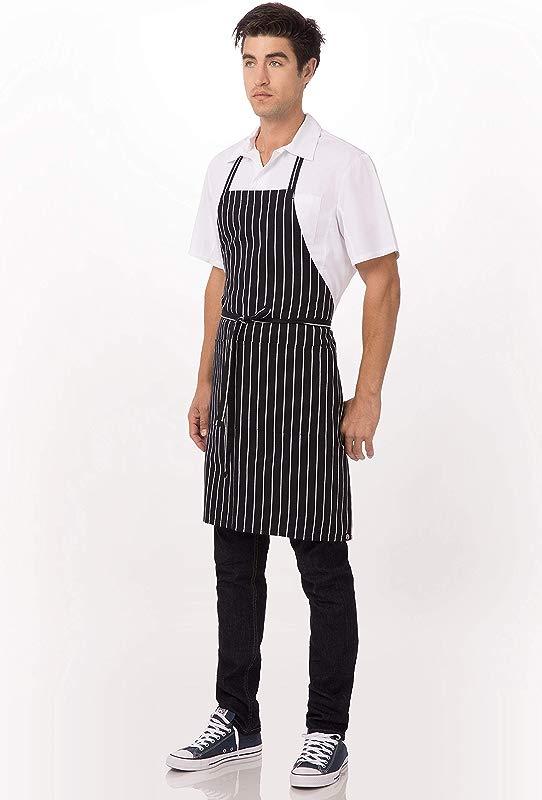 Chef Works Bib Apron Black White Chalk Stripe 34 25 Inch Length By 27 Inch Width