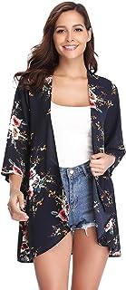 Aibrou Cárdigan Kimonos Mujer Camisolas y Pareos Pareo Playa,Cardigan Verano Manga 3/4 Tops Blusa Floral Suelta,Vacaciones...