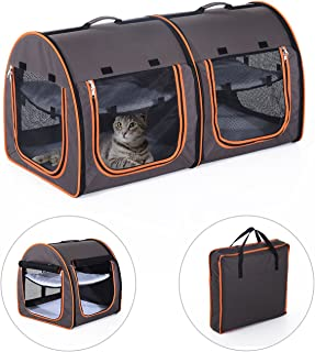 """Pawhut 39"""" Soft-Sided Portable Dual Compartment Pet Carrier - Gray"""