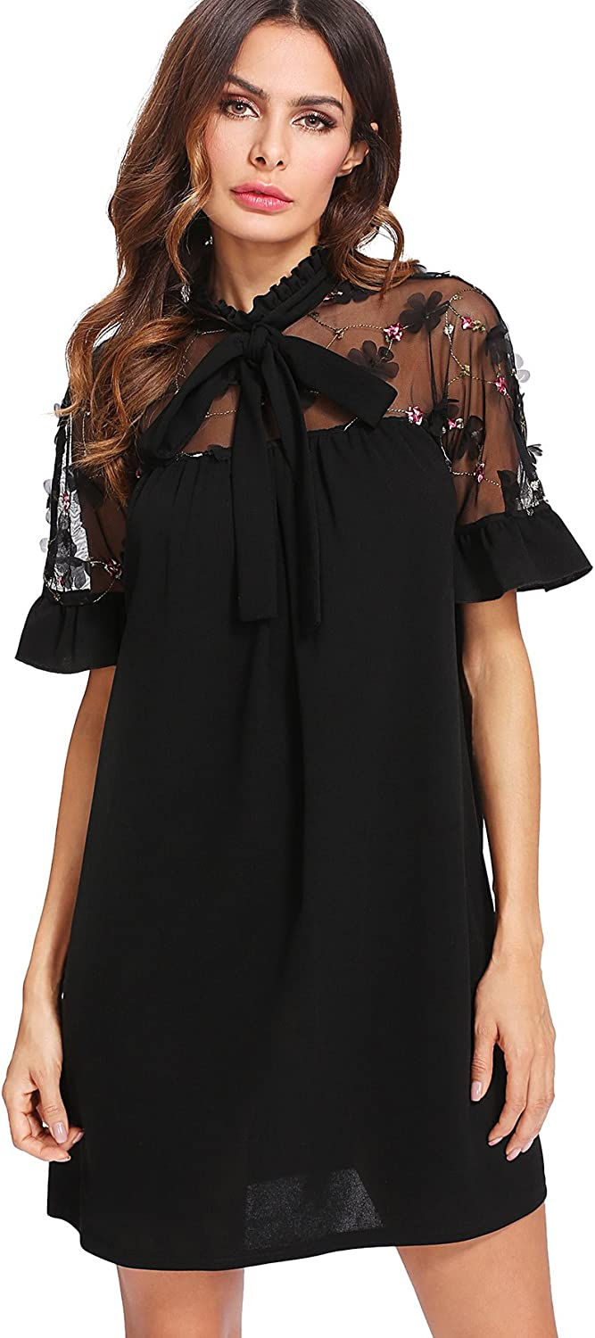 DIDK Women's Elegant Floral Embroidered Mesh Bow Tie Neck Tunic Dress