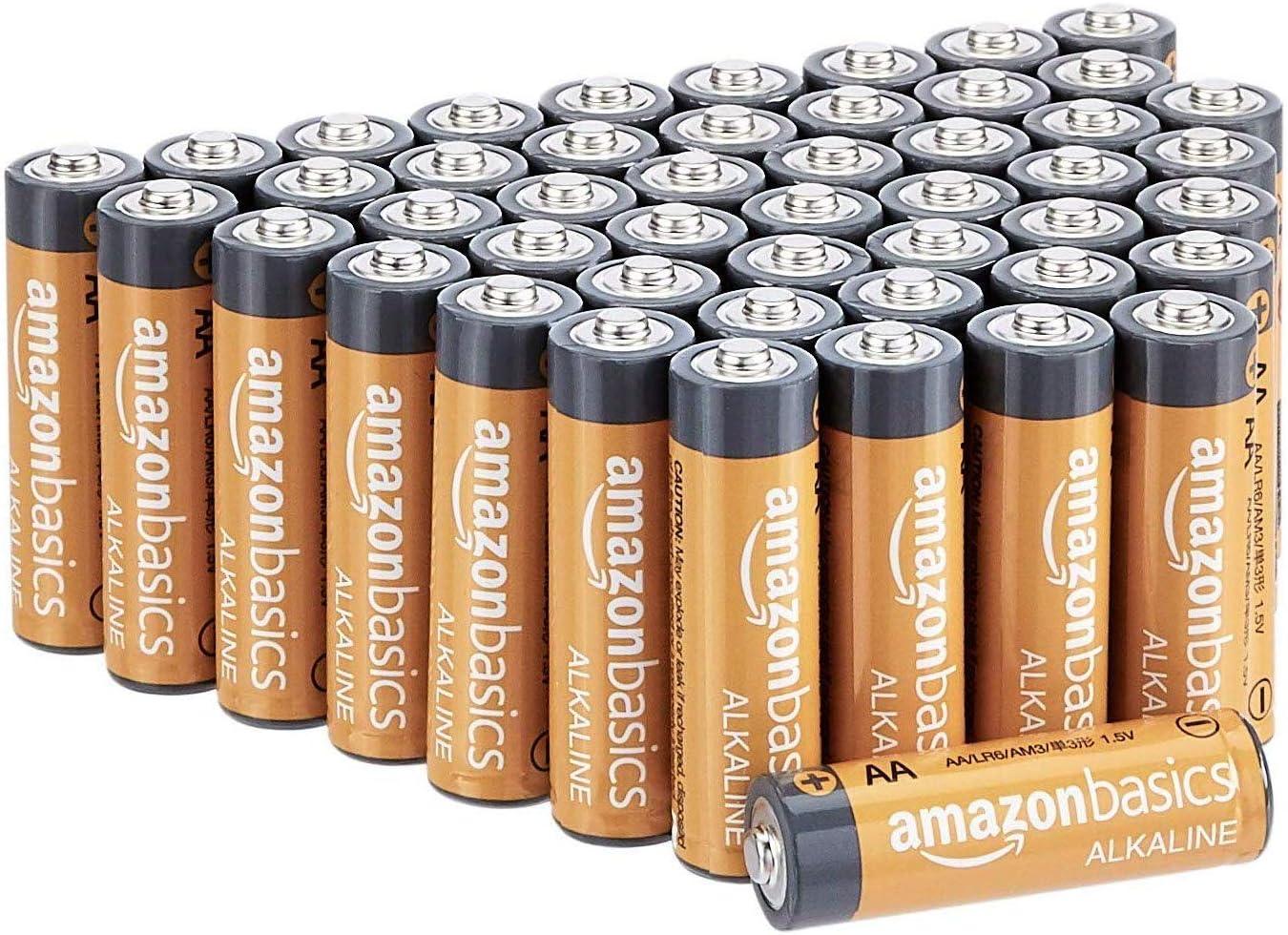 亚马逊基础知识48包AA高性能碱性电池,10年保质期,易于开放的价值