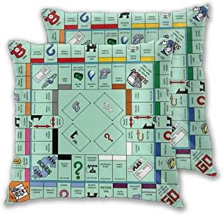 Granbey 2 PCS Monopoly Game Map Throw Pillow Covers Game Player Pillowcase Game Theme Pillows Set Populer Game Cotton Pill...