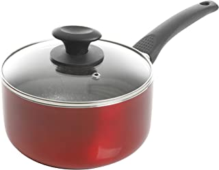Oster Metallic Red Aluminum Sauce Pan With Black Speckle Non-stick Interior, 2.5 Qt