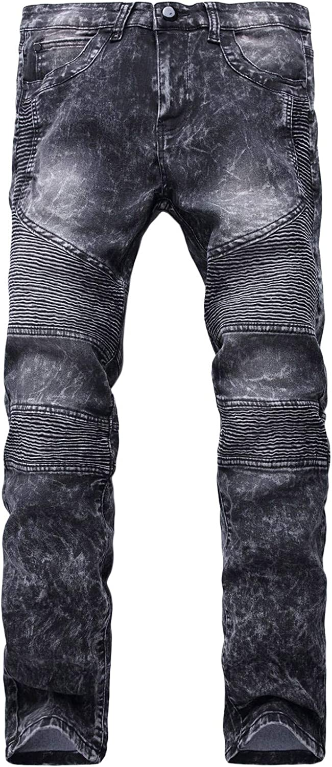 New arrival Andongnywell Men Motorcycle Pleated Distre Biker Stretchy Skinny Max 84% OFF