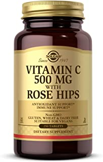 Solgar Vitamin C 500 mg with Rose Hips, 250 Tablets - Antioxidant & Immune Support - Overall Health - Supports Healthy Ski...